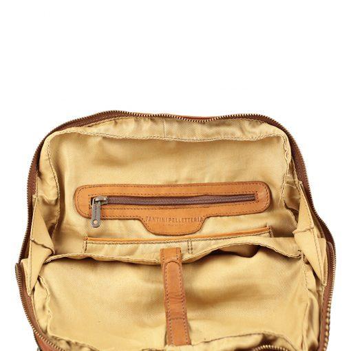 Großer italienischer Leder rucksack natürliche Farbe