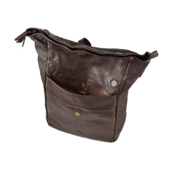 Italienische Tages rucksack braun Lederrucksack öffnen