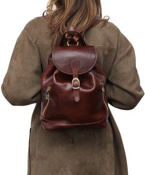 Kleine leder rucksäcke damen braun Outfit Mädchen