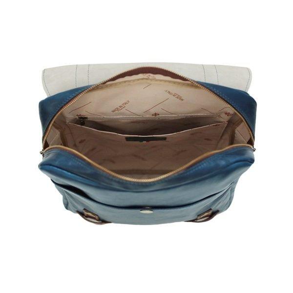 Leder Rucksack Urban blau made in italy