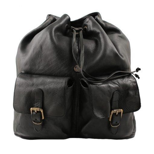 Leder rucksack damen schwarz italienische Mode