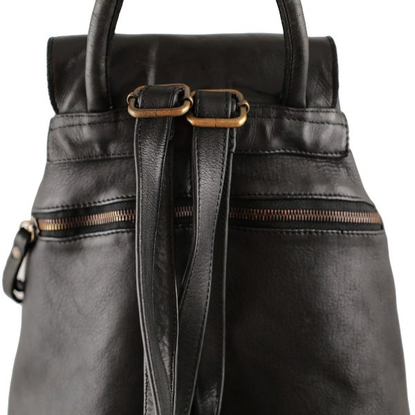 Leder rucksack damen schwarz made in italy