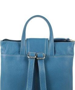 design italia leder rucksack damen blau made in italy