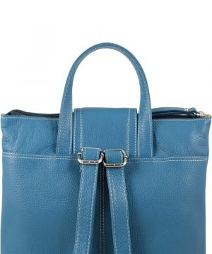 design italia leder rucksack damen blau made in italy