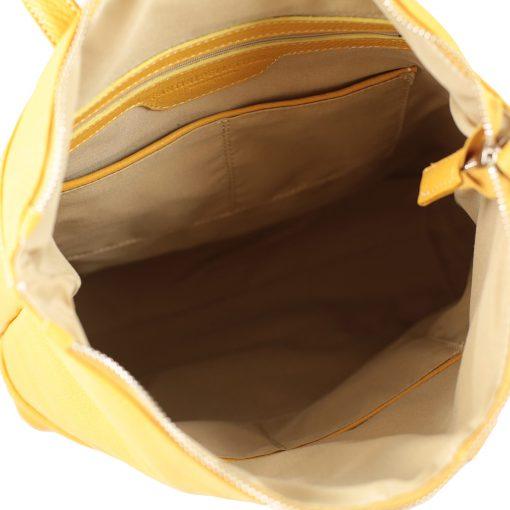 design italia leder rucksack damen gelb Innen Rucksack