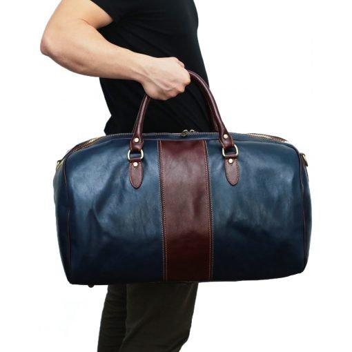 echtleder reißverschluss reisetasche vintage outfit mann