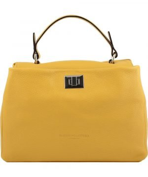 gelb ledertasche damen shopper