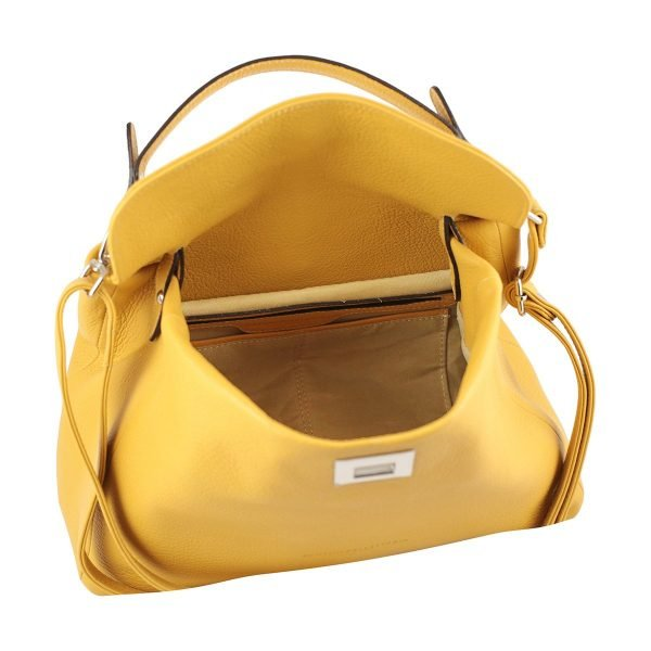 gelb ledertasche damen shopper fantini pelletteria