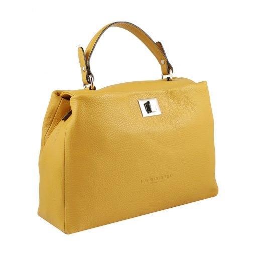 gelb ledertasche damen shopper made in italy