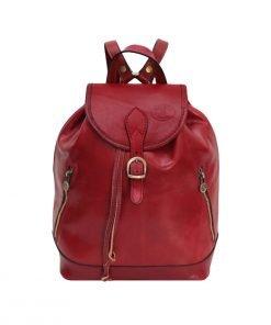 großer leder rucksack damen rot