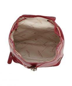 großer leder rucksack damen rot italienische mode