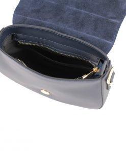 handtasche damen leder blau made in italy
