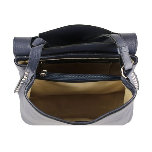 handtasche leder blau made in italy