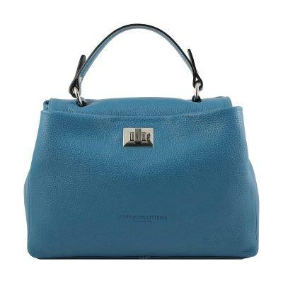 hellblau ledertasche damen shopper