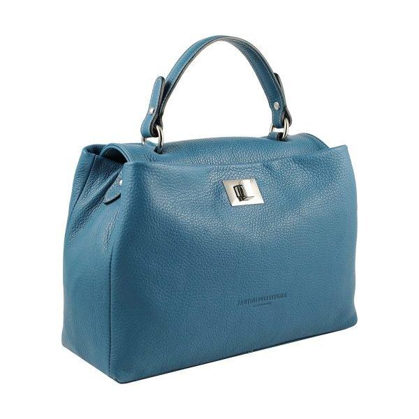 hellblau ledertasche damen shopper fantini pelletteria