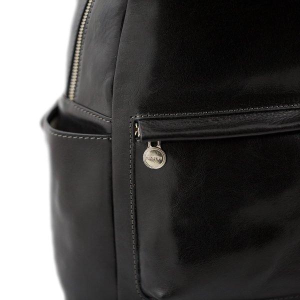 italian unisex leder rucksack schwarz made in italy