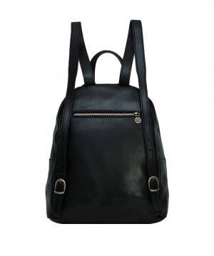 italienische mode leder rucksack schwarz made in italy