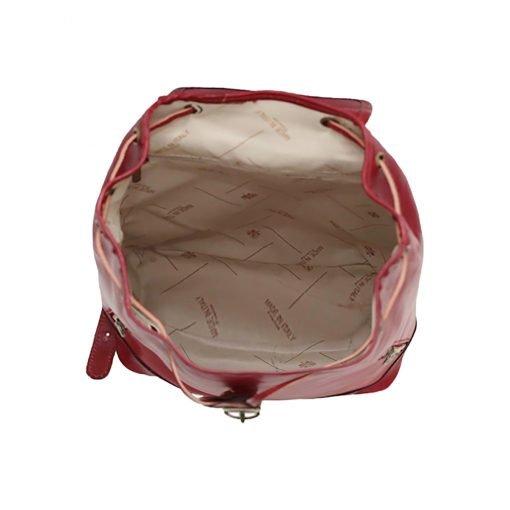 kleine leder rucksäcke damen rot Innenraum Lederrucksack