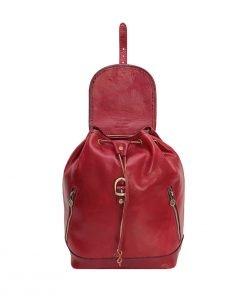 kleine leder rucksäcke damen rot made in italy
