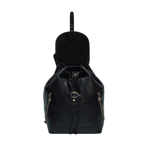 kleine leder rucksäcke damen schwarz Innenraum Lederrucksack