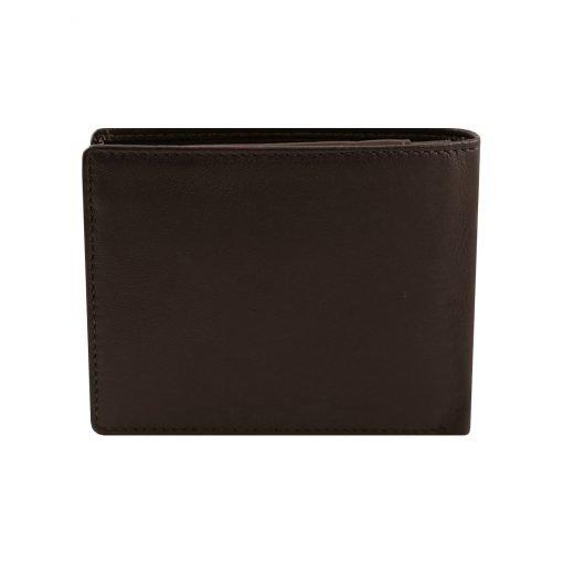 leder brieftasche mit großer geldbörse dunkelbraun made in italy