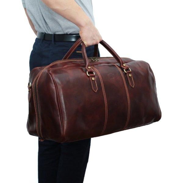 leder reisetaschen reisetaschen leder braun outfit mann