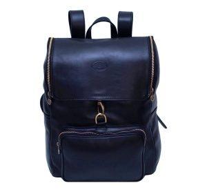 leder rucksack mit haken verschluss blau