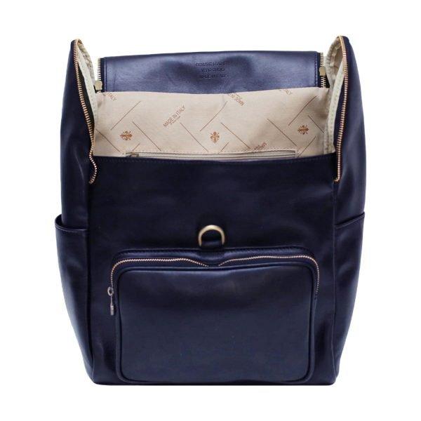 leder rucksack mit haken verschluss blau lederrucksack Laptop