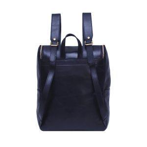 leder rucksack mit haken verschluss blau made in italy
