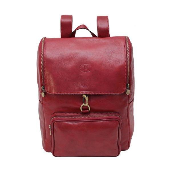 leder rucksack mit haken verschluss rot