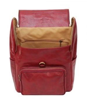 leder rucksack mit haken verschluss rot lederrucksack Laptop