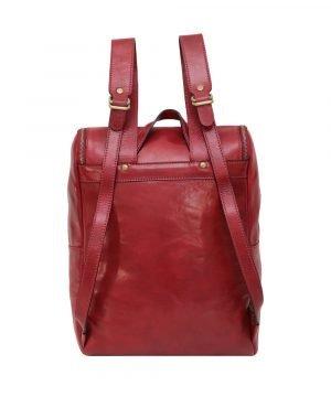 leder rucksack mit haken verschluss rot made in italy
