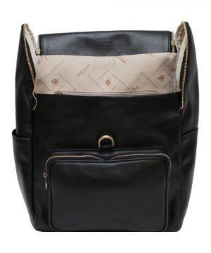 leder rucksack mit haken verschluss schwarz lederrucksack Laptop
