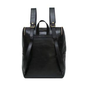 leder rucksack mit haken verschluss schwarz made in italy