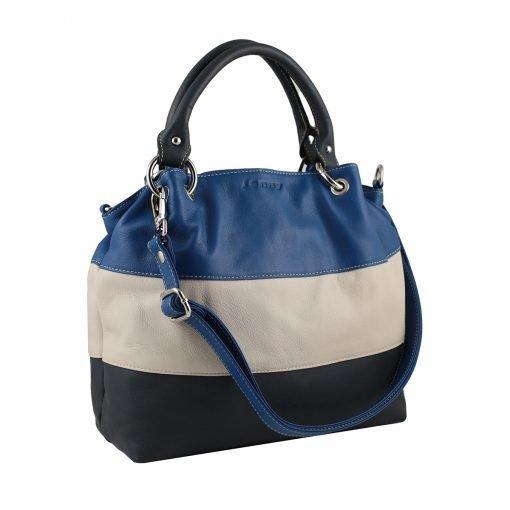 lederhandtasche blau made in italy