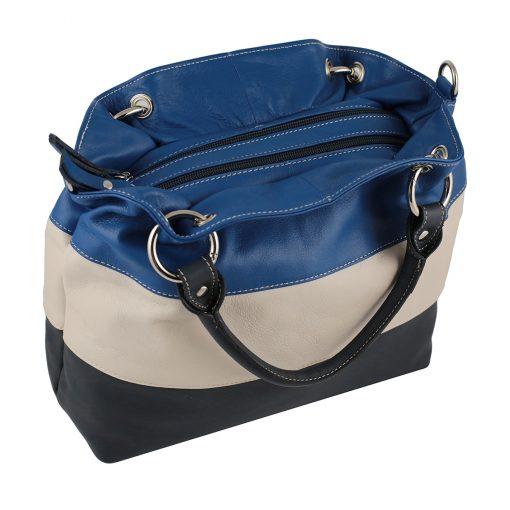 leder handtasche blau made in italy fantini pelletteria