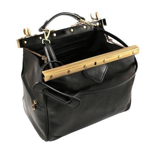 ledertasche arzttasche umhängetasche schwarz tasche schwarz made in italy fantini pelletteria