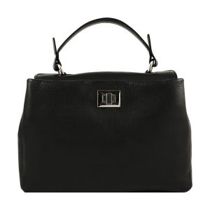 schwarze ledertasche shopper fantini pelletteria
