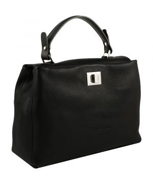 schwarze ledertasche shopper made in italy