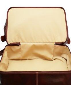 weekender trolley reisetasche ledertasche braun doppelt tiefe Trolley Schuhe