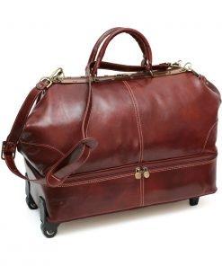 weekender trolley reisetasche ledertasche braun fantini pelletteria