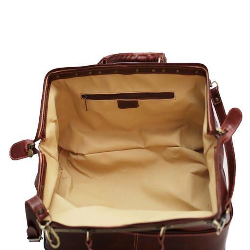weekender trolley reisetasche ledertasche braun innen rucksack