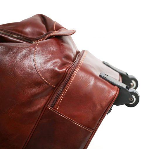 weekender trolley reisetasche ledertasche braun made in italy