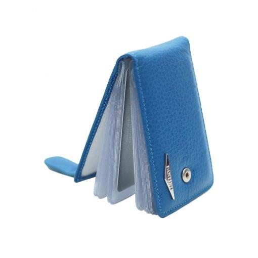 blau kartenhalter aus leder made in italy