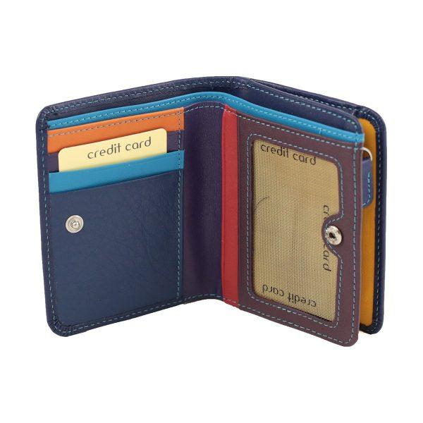 damen brieftasche aus leder mit ausweisfach dunkelblau