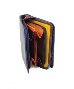 damen brieftasche aus leder mit ausweisfach dunkelblau fantini