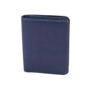 damen brieftasche aus leder mit ausweisfach dunkelblau made in italy