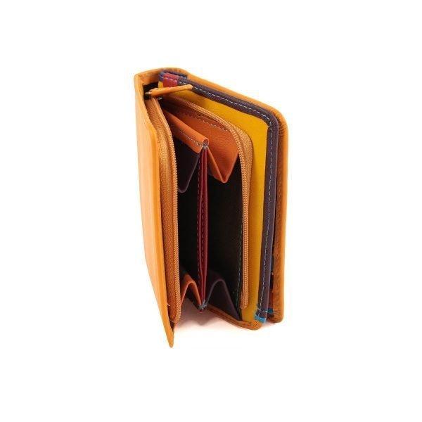 damen brieftasche aus leder mit ausweisfach gelb fantini