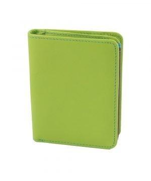 damen brieftasche aus leder mit ausweisfach grün made in italy