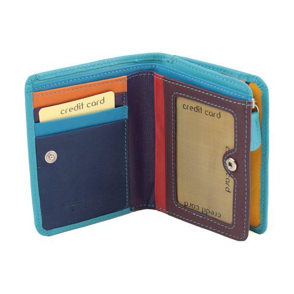 damen brieftasche aus leder mit ausweisfach hellblau